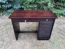 Desk, desk with blinds, lingel, drawer, laptop notebook table, home-office, excellent art deco,