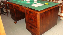 Old German renovated desk with seven drawers.