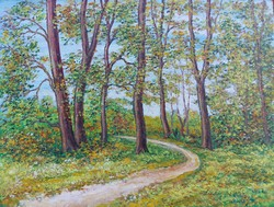 Forest road in autumn - landscape (28x21 cm)