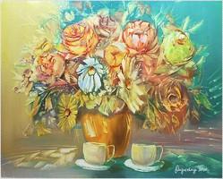 Virágok, olajfestmény, saját alkotás.