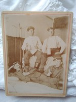 Antique hardback sepia military photo, men in uniform, pipe, beer mug