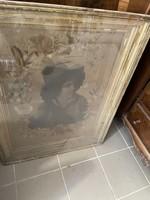 Biedermeier silk painting