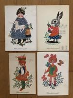 Aranyos Húsvéti képeslapok - Hajnal Gabriella rajz    ár / db
