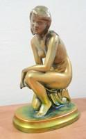 Zsolnay eosin antique, kneeling nude