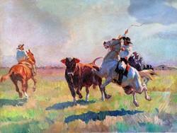 János Viski (1891 - 1987) cattle herding