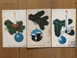 Aranyos Karácsonyi képeslapok - Piros Tibor rajz  - ár / db