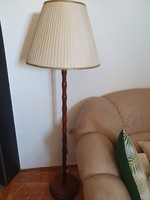 Retro solid wood floor lamp with butter-colored fabric cover