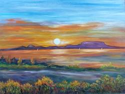 Sunset at Lake Balaton - landscape (48x36 cm)