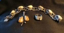 Silver (925), hunter-jewelry set triple. Flawless!