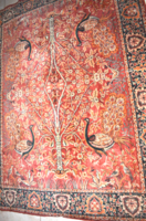 Retro tree-lined, bird-sized large mocha tablecloth