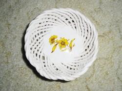 Retro ceramic wicker openwork patterned bowl basket - painted flower pattern