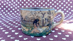 Fischer emil teacup with brandy béla decor life picture panoramic