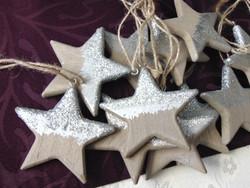 Csillag karácsonyfadísz - fa ezüst