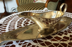 Fabulous, rare, antique, marked, silver-plated, alpaca sauce with rose tray