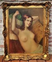István Szász (1878 - 1965) oil painting between nude pillows c with original guarantee!
