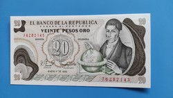 Kolumbia 20 Pesos 1982 UNC