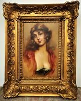 Innocent Ferenc (1859-1934) Fiatal Szépség c. olajfestménye EREDETI GARANCIÁVAL !