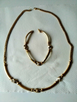 Gold jewelry set, necklace, necklace with bracelet, 48.2 grams (yellow)