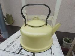Retro zománcozott sárga teafőző, teáskanna, dekorációs tárgy