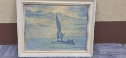 Ice sailboat in the bay of Füred with antique painting with Kostolányi signature