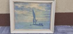 Jégvitorlás a Füredi Öbölben Antik Festmény Kosztolányi Szignóval
