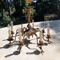 Eight-branched copper chandelier