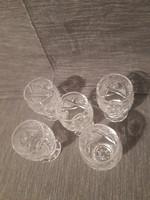 Gyönyörű ólom kristály poharak 5 db feles pohár.