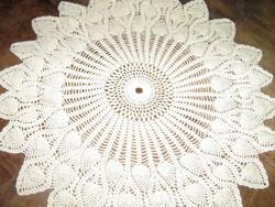 Beautiful handmade crochet round ecru tablecloth