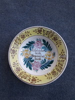 Rare old raven house porcelain faience wall plate with inscription