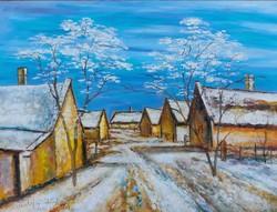 Balaton Uplands Winter Street - landscape (48x36 cm)