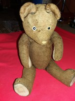 Antique straw and ragged paper whistle really rumbling teddy bear toy bear figurine according to pictures 34 cm