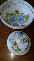 Antique glazed Transylvanian, Szekler tile folk bowl, plate and a coma bowl lid, folk ceramic