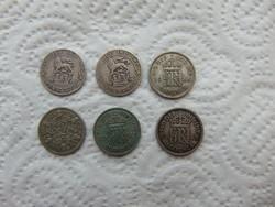 Anglia 6 darab ezüst 6 pence LOT !