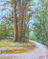 Autumn forest road - landscape (13.5x16.5 cm)