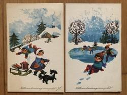 Aranyos Karácsonyi képeslapok - Tomaska Irén rajz   - ár / db