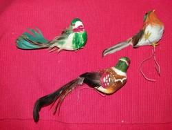 Régi Iparművész madártollból készült madár dekor akár karácsonyfadísz figurák 3 db  a képek szerint