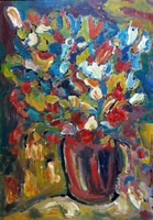 Miklós Csepel Németh - still life 100 x 70 cm oil, cardboard