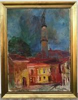 Erika Juhász's (1926-2018) oil painting of Veszprém roofs with original guarantee!