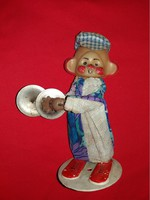 Monchic mon-chi-chi clown toy figurine with old wooden-based arm cymbal according to pictures
