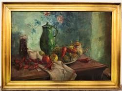 Gyula Marosán's (1915 - 2003) table still life c oil painting with original guarantee!