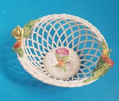 Herend wicker basket with flower applique