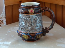 Beautiful old flawless majolica cup with cloak richly decorated with hunter scenes