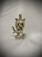 Antik ezüst cica medál