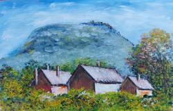 Homestead at the foot of the hut - landscape (23.7x15.2)