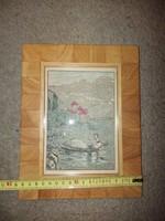 Grafittal, és akvával színezett litográfia, szép keretben, 13x18 cm+keret