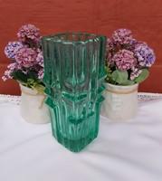 Beautiful colored green rare czech vladislav urban sklo huge 20 cm high glass vase collector century