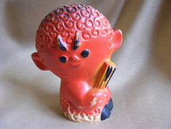 Retro beeping rubber toy cramp with little devil flower