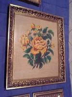 Gobelin, goblet, yellow roses in glazed frame