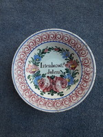 Rare old porcelain faience wall plate with Miskolc inscription