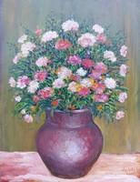Flowers in a vase - still life (17x22.5 cm)